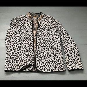 Reversible cow print and animal print light jacket